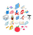 sciential icons set isometric style vector image vector image