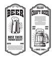 set beer flyers with beer mug design element vector image vector image