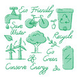 set ecology icons and lettering in sketch style vector image vector image