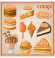 Set of sweets with an orange vector image vector image