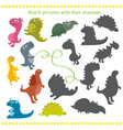 shadow matching game with cartoon dinosaur for vector image vector image