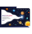 space exploring landing page website vector image vector image