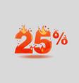 twenty five percent discount numbers on fire vector image