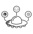 ufo spaceship planets astrology cartoon vector image