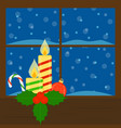 window with candles vector image