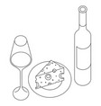 wine glass and cheese vector image