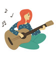 woman playing guitar isolated character vector image vector image