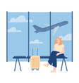 young woman character with luggage waiting flight vector image