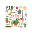 garden objects design elements vector image