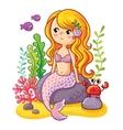 Cute cartoon mermaid sitting on a rock vector image