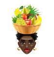 african woman with fruits on her head isolated vector image vector image