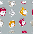alarm clocks seamless background timer deadline vector image