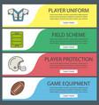 american football web banner templates set