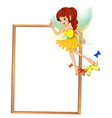 An empty wooden signboard with a floating fairy vector image vector image
