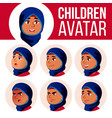 arab muslim girl avatar set kid high vector image vector image