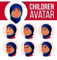 arab muslim girl avatar set kid high vector image vector image