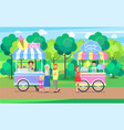 candy cotton and ice cream sweet food mobile shops vector image vector image