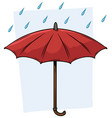 cartoon red umbrella with raindrops icon vector image vector image