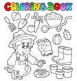 coloring book with garden theme vector image vector image