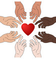concept charity and donation hands give love vector image vector image