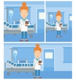 Doctor with file in medical office vector image vector image
