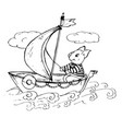 doodle cute pig floating on a boat with vector image vector image