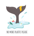 eco poster whale tale and garbage in ocean vector image vector image