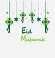 eid mubarak background with ketupatcrescent