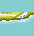 extreme sport banner - cartoon people kayaking in vector image