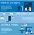 flat software apps development concept set vector image