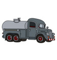 funny old gray tank truck vector image vector image