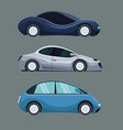 gray background of colorful set futuristic car vector image