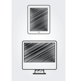 Hand drawn computer and tablet vector image