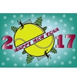 happy new year 2017 and tennis ball vector image vector image