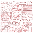 Huge set of red hand drawn elements vector image vector image