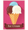 Ice cream retro poster background design in flat vector image