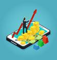 isometric financial development concept vector image vector image