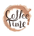 lettering time for coffee vector image