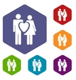 Love rhombus icons vector image