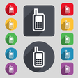 Mobile phone icon sign A set of 12 colored buttons vector image vector image