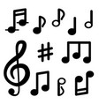 musical notes isolated on white background signs vector image vector image