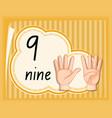 number nine hand gesture vector image vector image