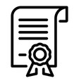 scroll diploma icon outline style vector image vector image