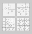 set white puzzle pieces - four jigsaw object vector image
