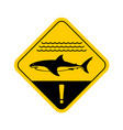 shark warning sign with sea waves vector image