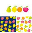 simple cute summer fruit icon set vector image