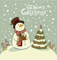 Snowman with gifts beside christmas tree vector image