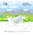 soap with milk splash natural handmade vector image