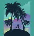sunrise tropical island vector image vector image