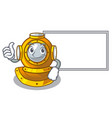 thumbs up with board helmet diving in mascot vector image